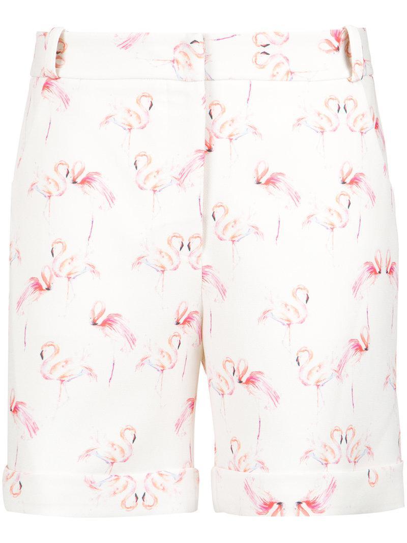 Olympiah In Flamingo White Lyst Tailored Shorts Print 8N0vmwn