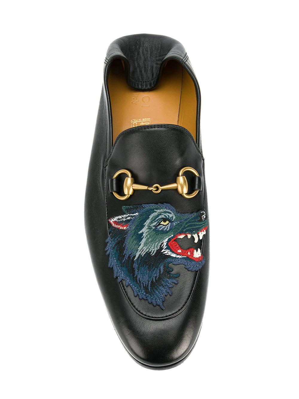 77b91428e90 Lyst - Gucci Wolf Embroidered Horsebit Loafers in Black for Men