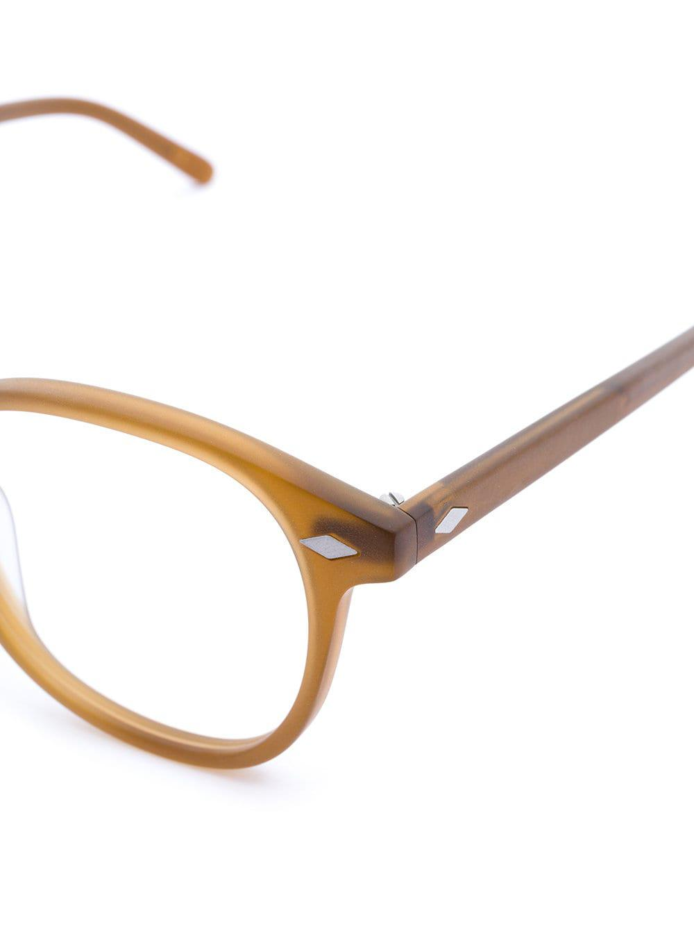 ba2854b455 Lesca - Brown Round Frame Glasses - Lyst. View fullscreen
