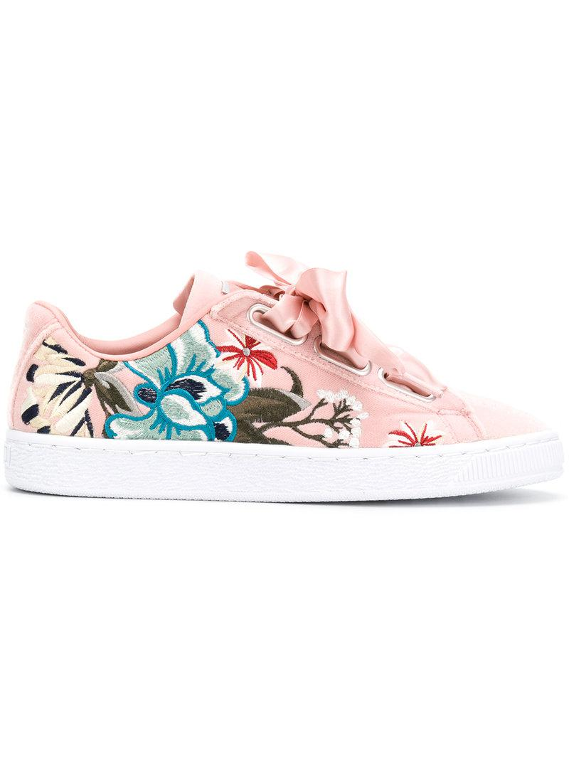 9d6ab793835 PUMA Embroidered Floral Low Top Sneakers in Pink - Lyst