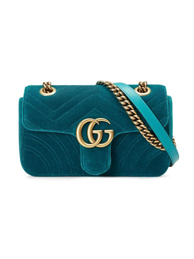 e1e54068183 Lyst - Gucci GG Marmont Velvet Mini Bag in Blue