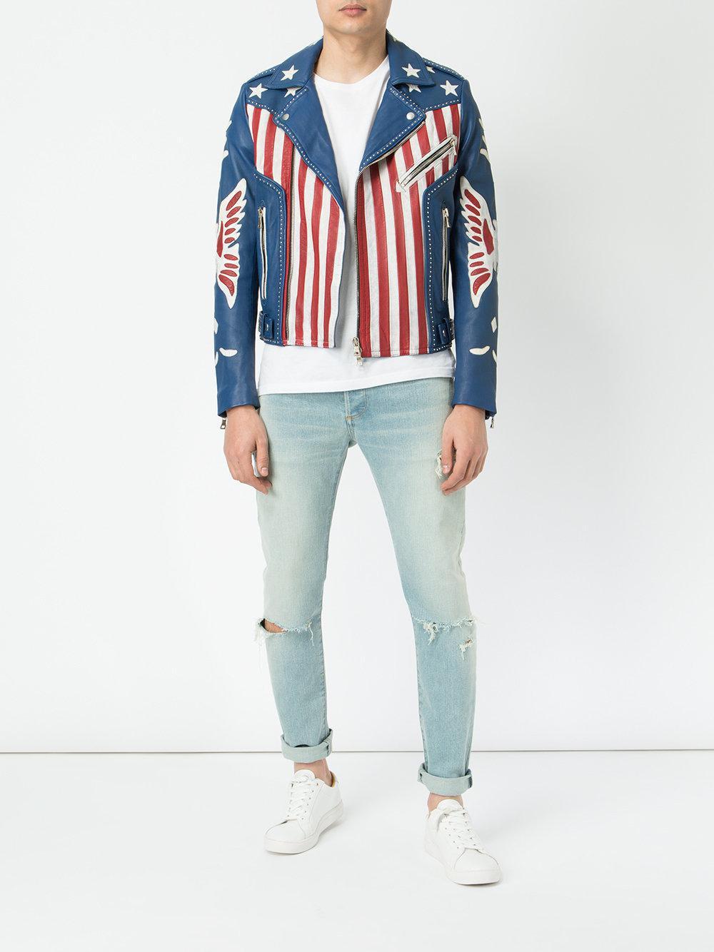 5dfcabe6f8fd Lyst - Veste de moto American Flag Balmain pour homme en coloris Bleu