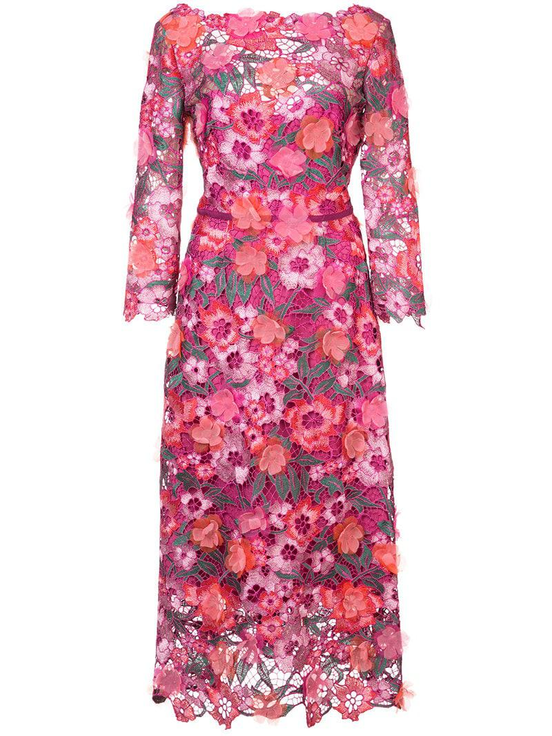 7c8ba4264dd Lyst - Marchesa notte Openwork Lace Dress in Pink