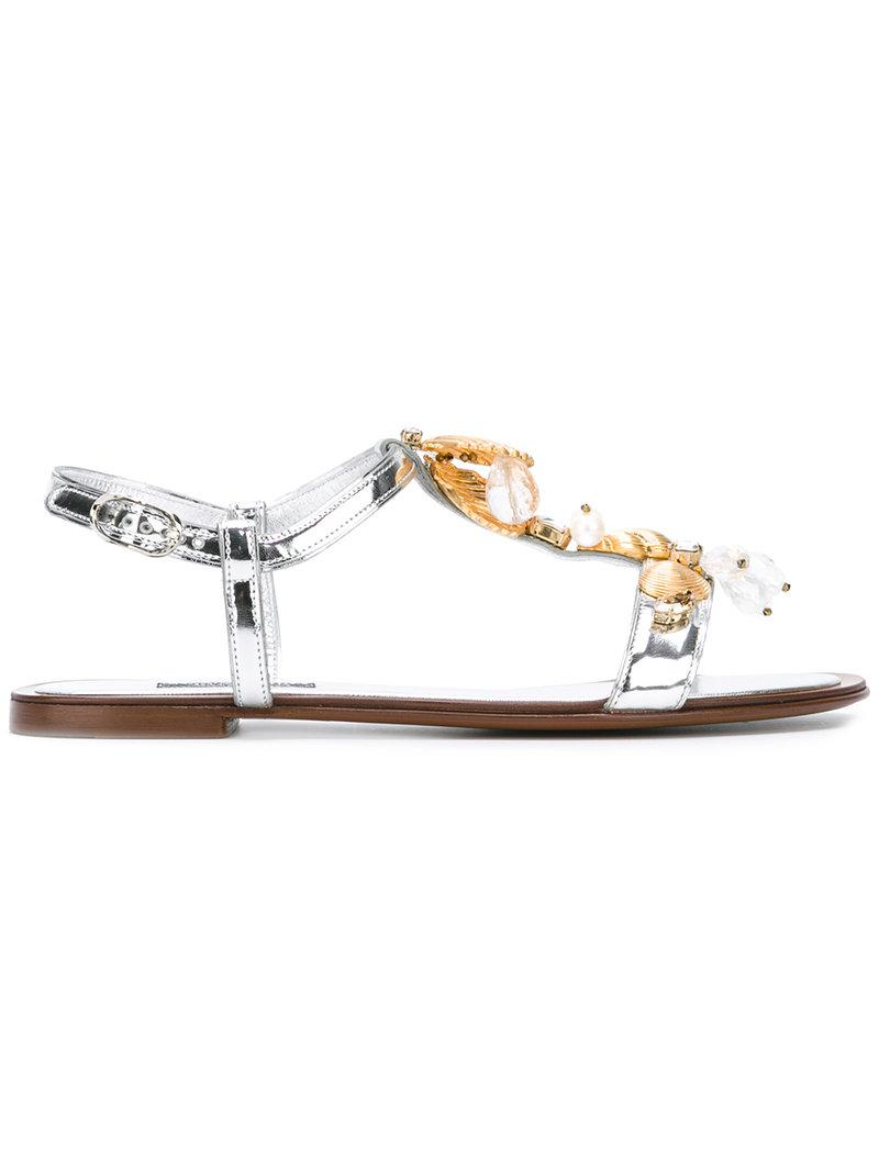 6af1f3573570 Lyst - Dolce   Gabbana Shell Embellished Sandals in Gray