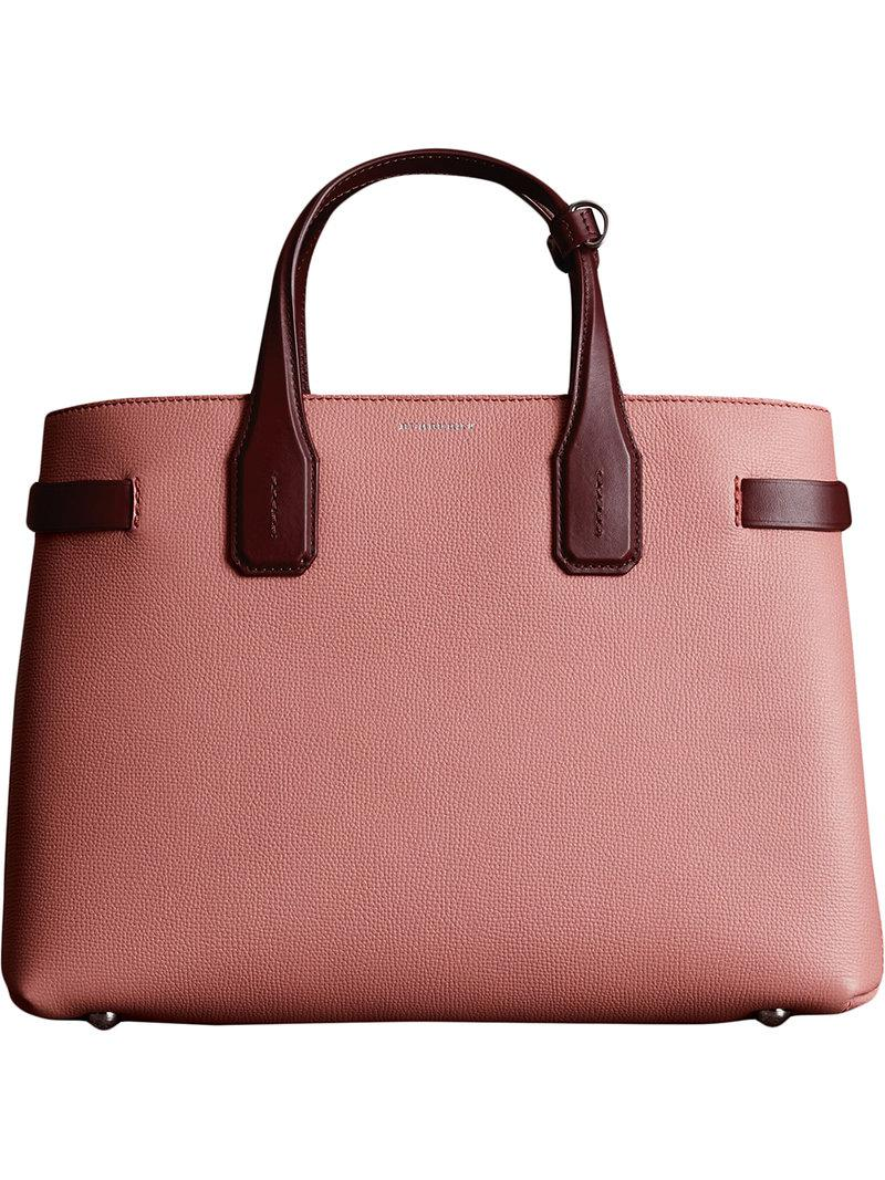 The Medium Banner in Two-tone Leather - Pink & Purple Burberry Cheap Discount BajNfLE9