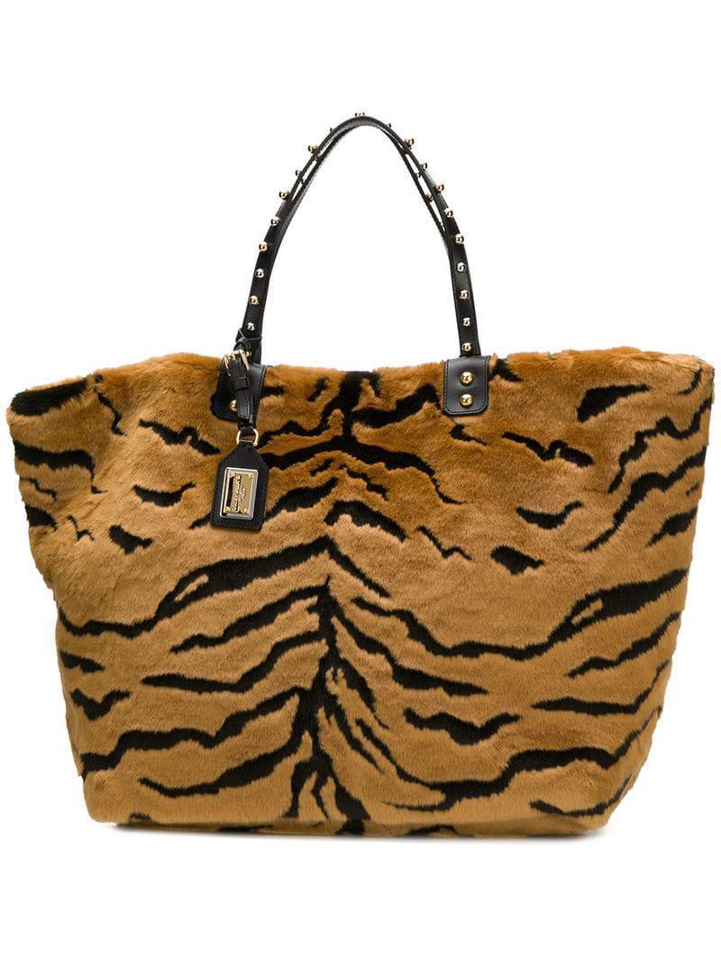 df42fec4a0 Dolce   Gabbana Beatrice Shopping Bag in Brown - Lyst