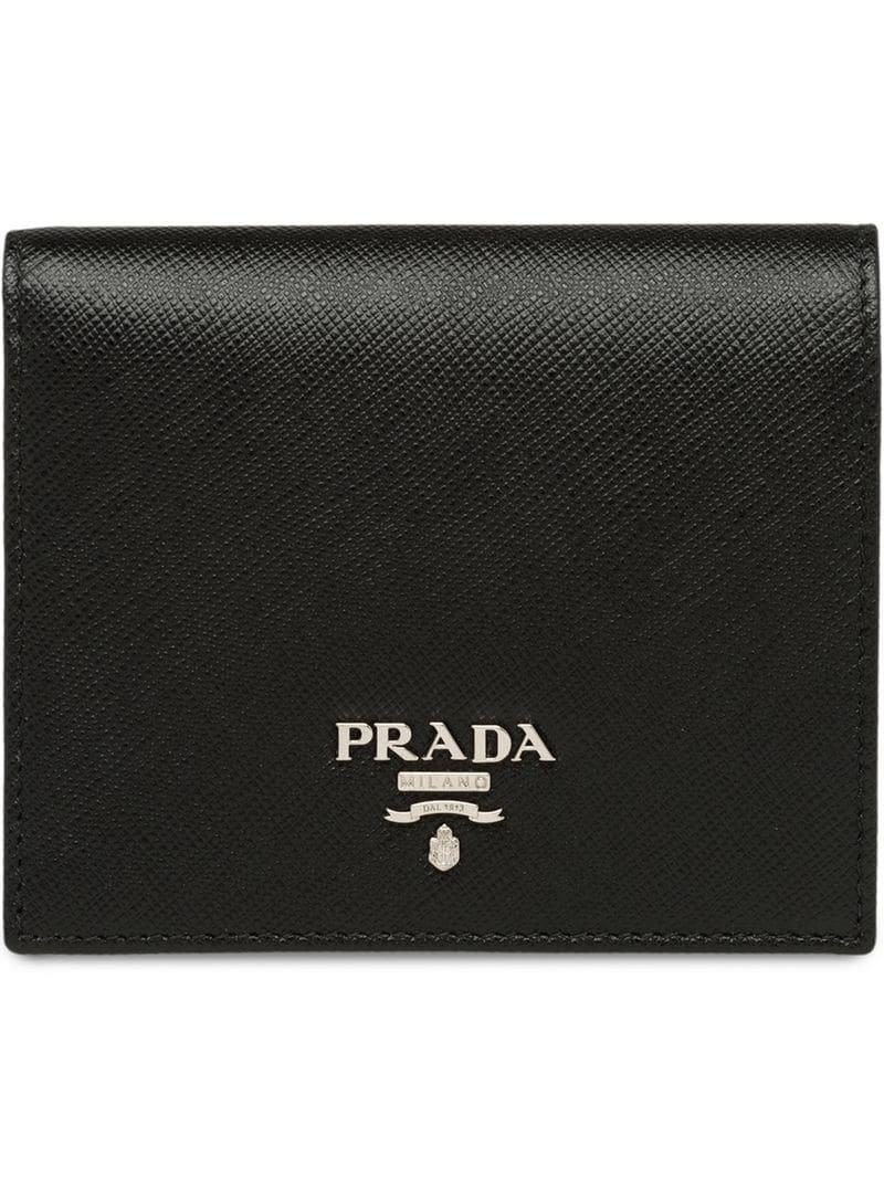 9dfd497bf08a4b Prada - Black Small Saffiano Leather Wallet - Lyst. View fullscreen