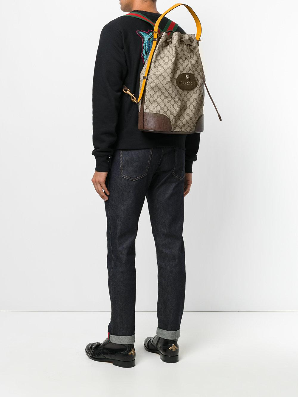 a666a89db22a51 Gucci Gg Supreme Drawstring Backpack in Brown for Men - Lyst