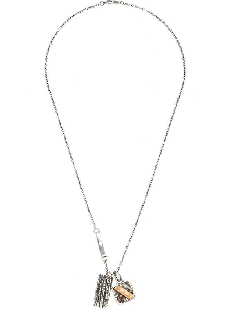 Tobias Wistisen framed skull necklace - Metallic 6i6Hasz
