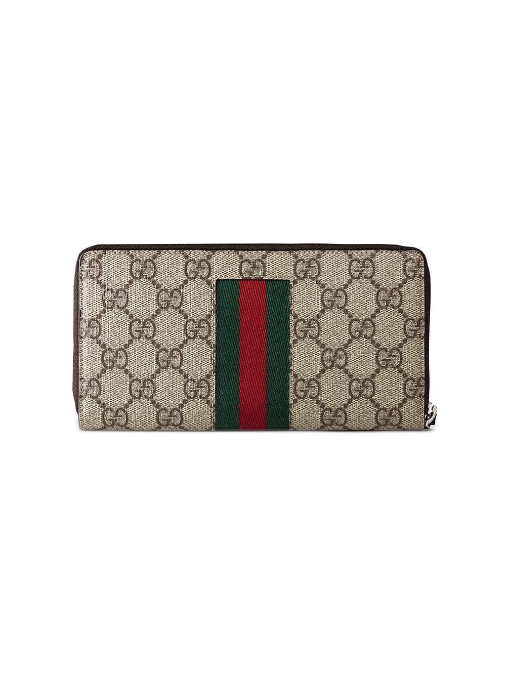 ed22e7380238 Gucci Beige Web GG Supreme Zip Around Wallet for Men - Save 12% - Lyst