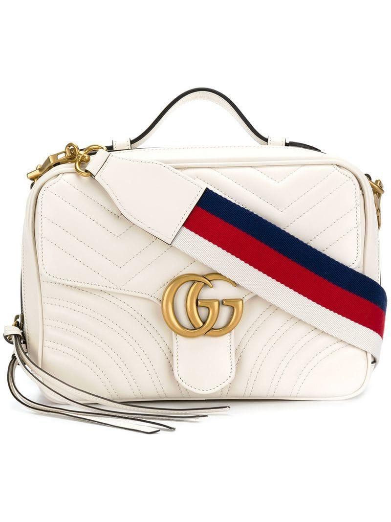 ba3a938aad2234 Lyst - Gucci GG Marmont Matelassé Shoulder Bag in White