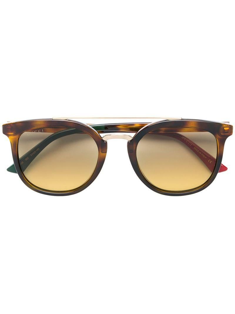 8229a806dc6 Gucci Round Shaped Sunglasses in Brown - Lyst
