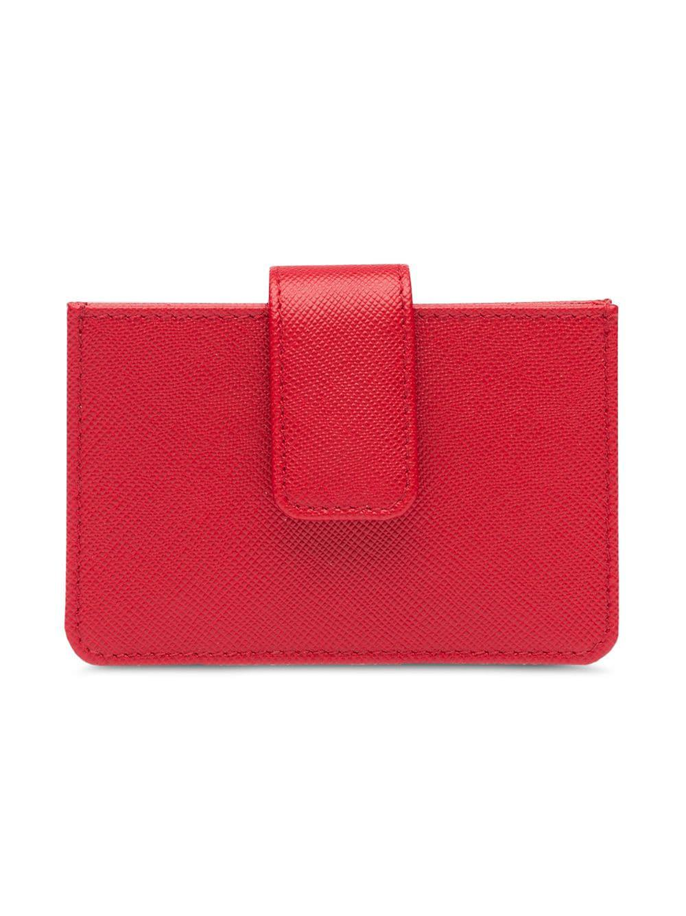 53adbeb75b05 Prada Saffiano Leather Cardholder in Red - Lyst
