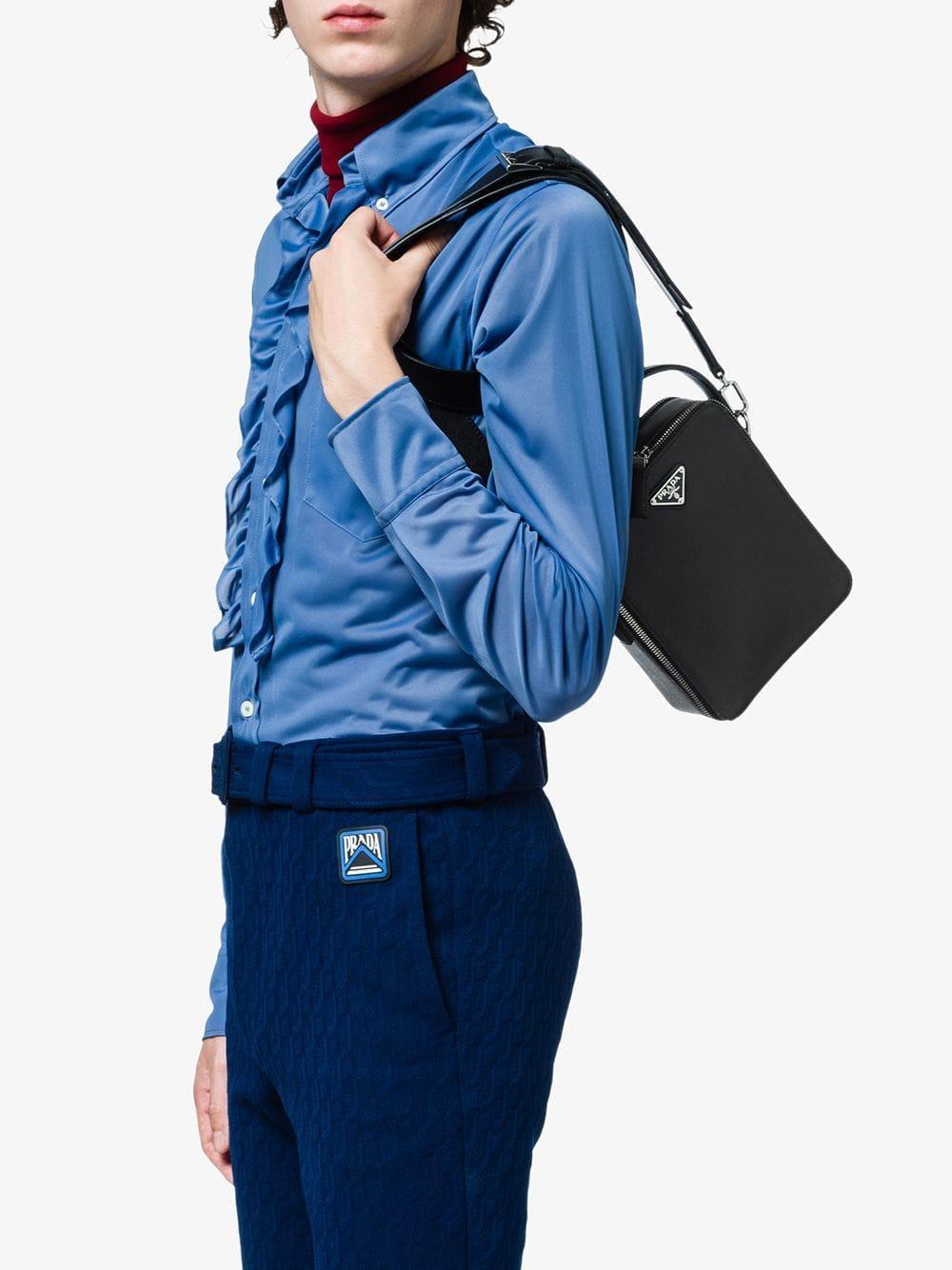 e95bd57f03b9 Lyst - Prada Saffiano Leather Shoulder Bag in Black for Men