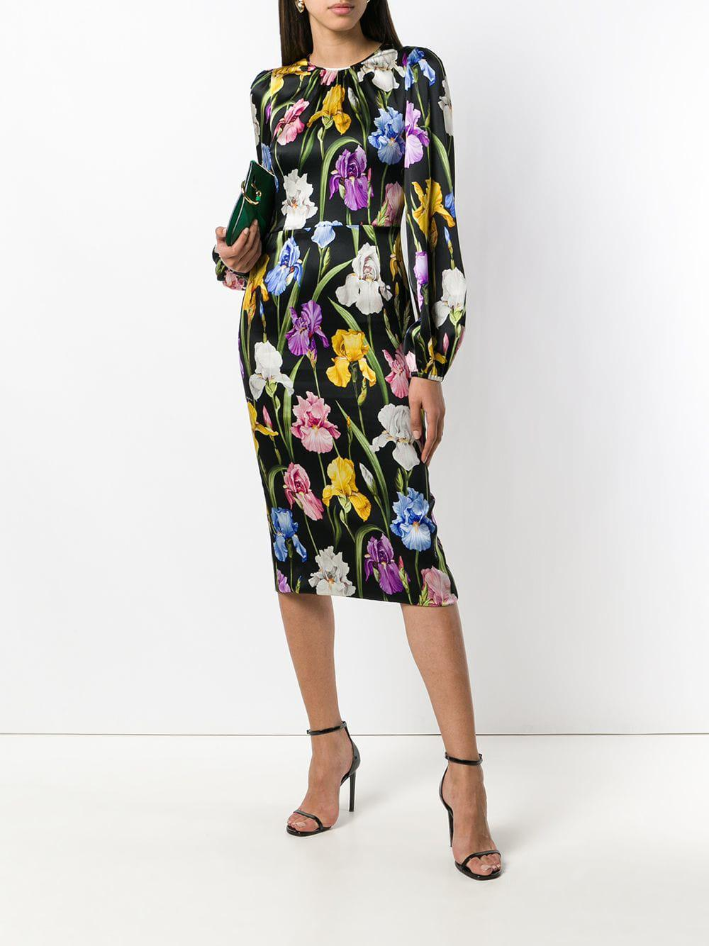 5713cd9626a Lyst - Dolce   Gabbana Floral Fitted Dress in Black - Save 68%