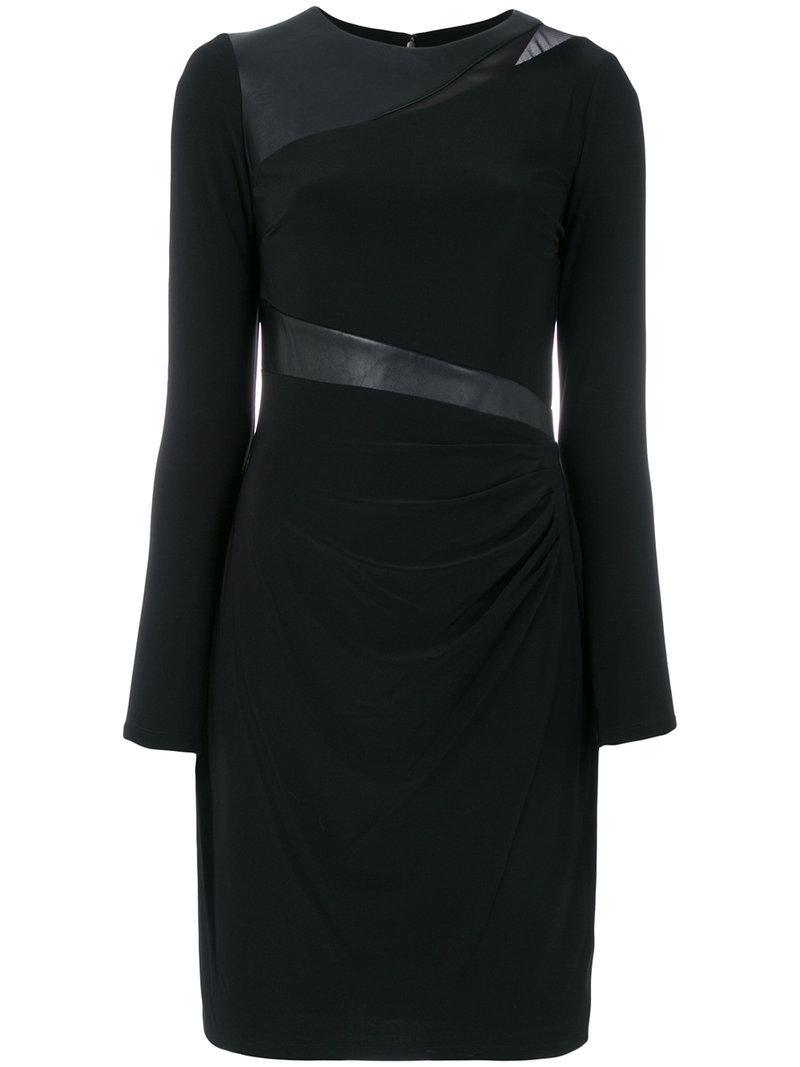 Lyst Ralph Lauren Long Sleeved Draped Dress In Black