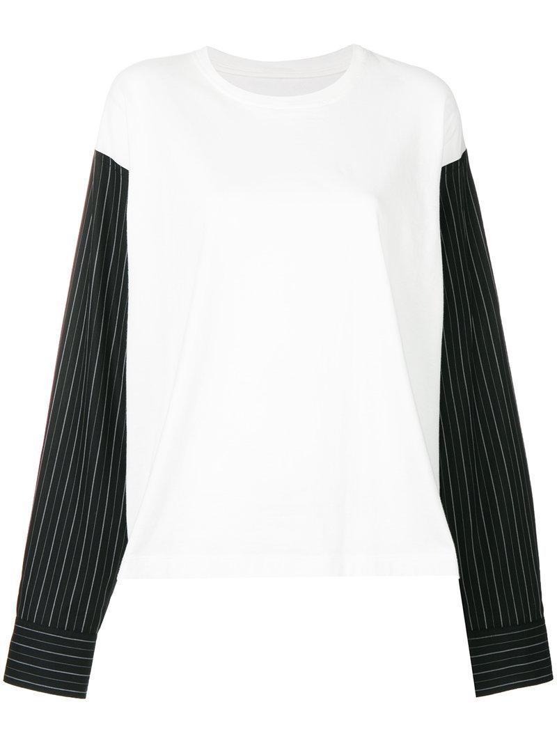 striped sleeve top - White Maison Martin Margiela Purchase Cheap Price Clearance 2018 Newest Shop For Cheap Price For Sale For Sale 13MA8Bx