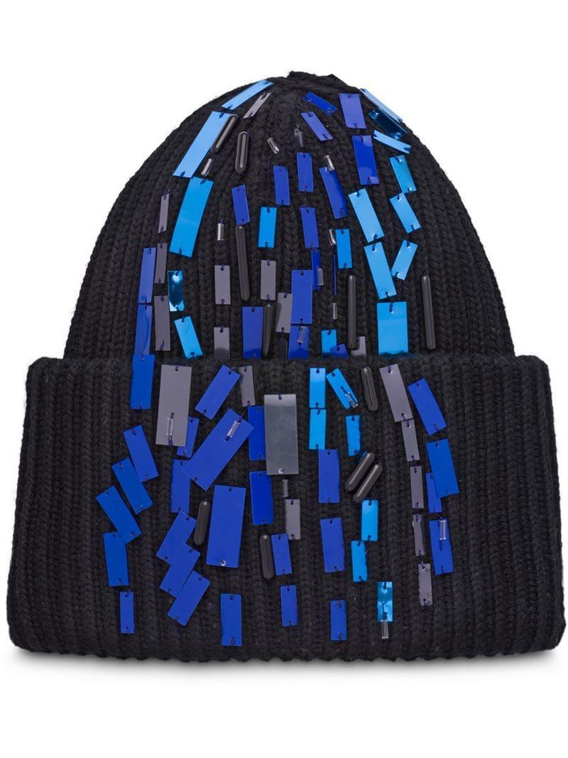 c271db97a Lyst - Prada Embroidered Skyline Motif Beanie in Black