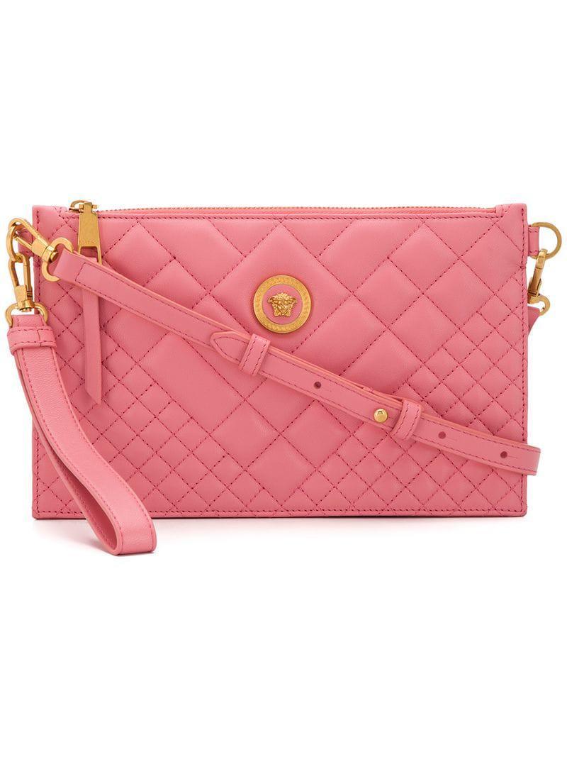 c138efb774a9 Versace Quilted Medusa Shoulder Bag in Pink - Lyst