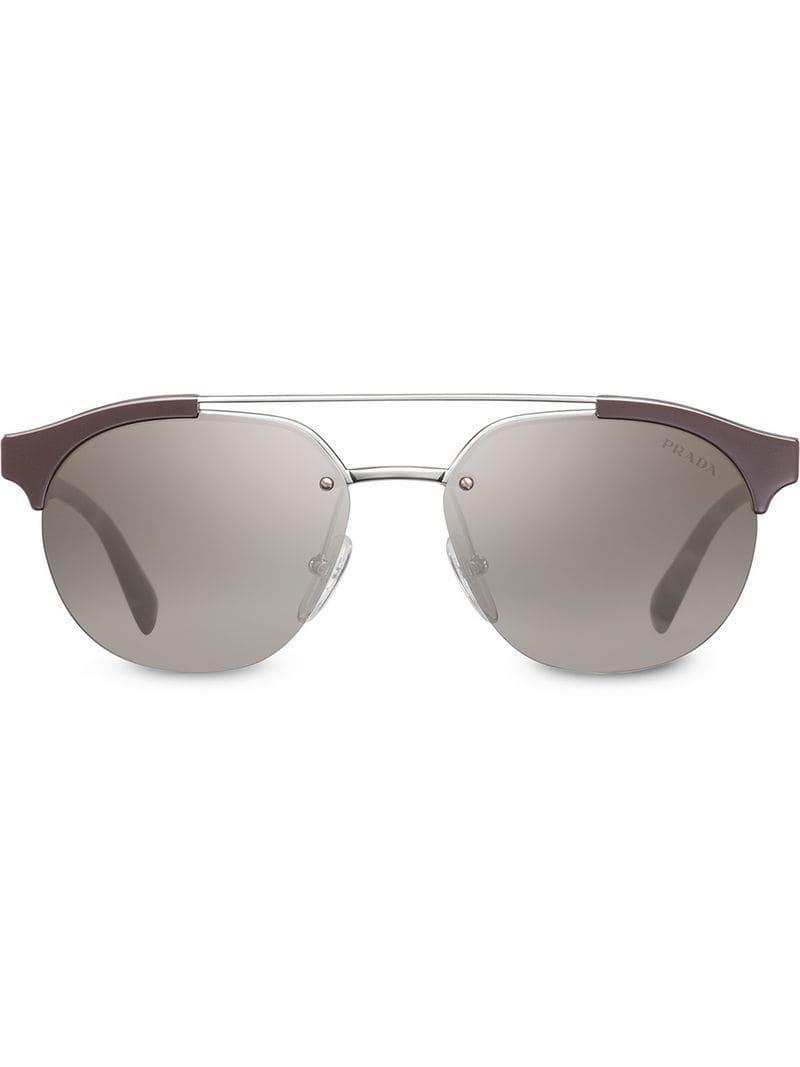 63380442cc42 ... ebay prada brown top bar round sunglasses for men lyst. view fullscreen  39c09 91691