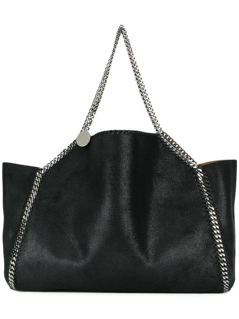 5f2b637591c4 Lyst - Stella McCartney Falabella Reversible Tote Bag in Black ...