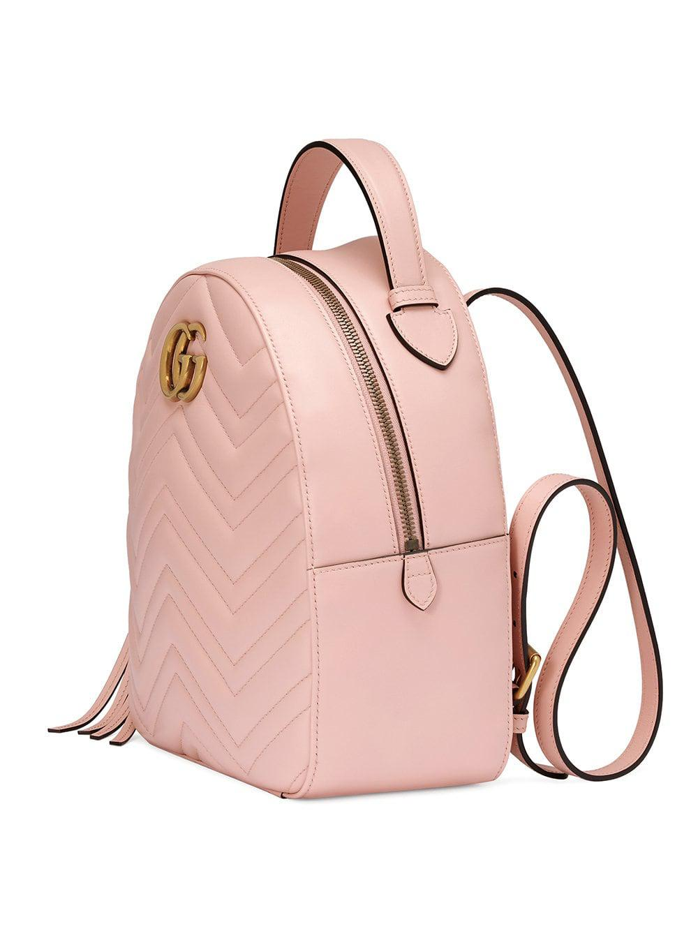 fb98691a938456 Gucci - Pink Marmont Quilted Leather Backpack - Lyst. View fullscreen