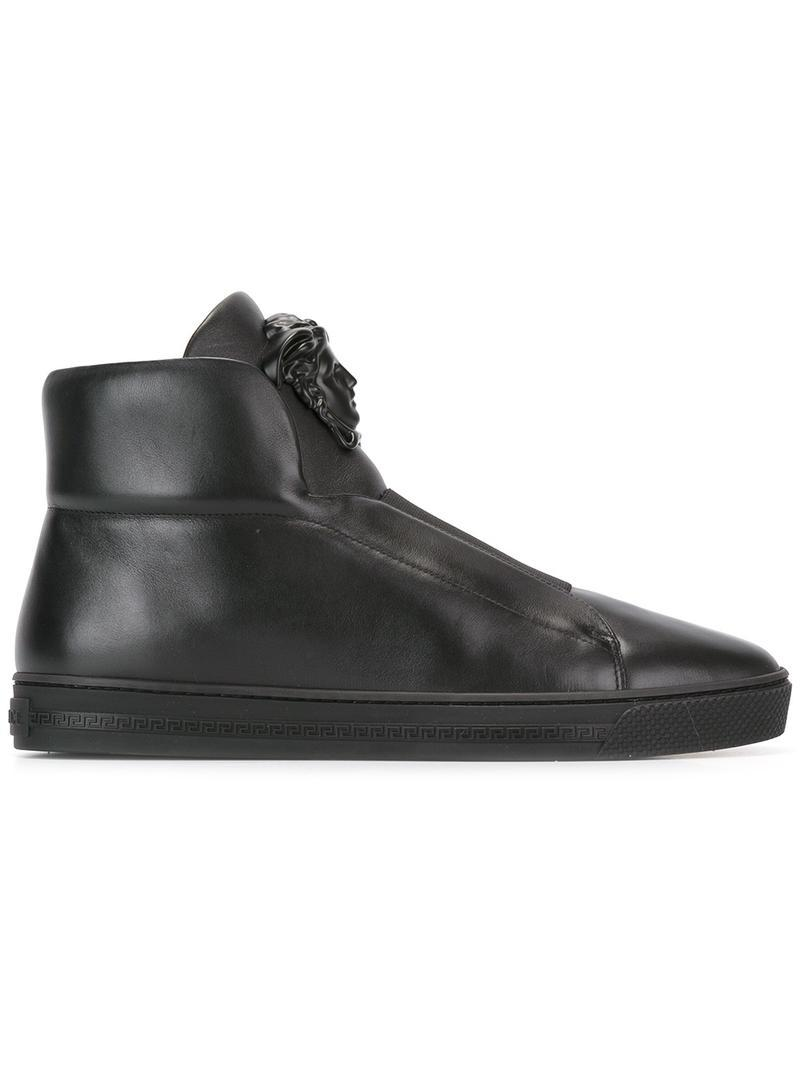 Lyst - Versace Palazzo Medusa High-top Sneakers in Black for Men - Save 9%