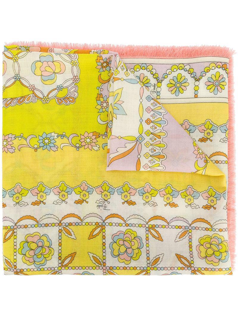 Florence-print scarf - Yellow & Orange Emilio Pucci 3wBuRcwD