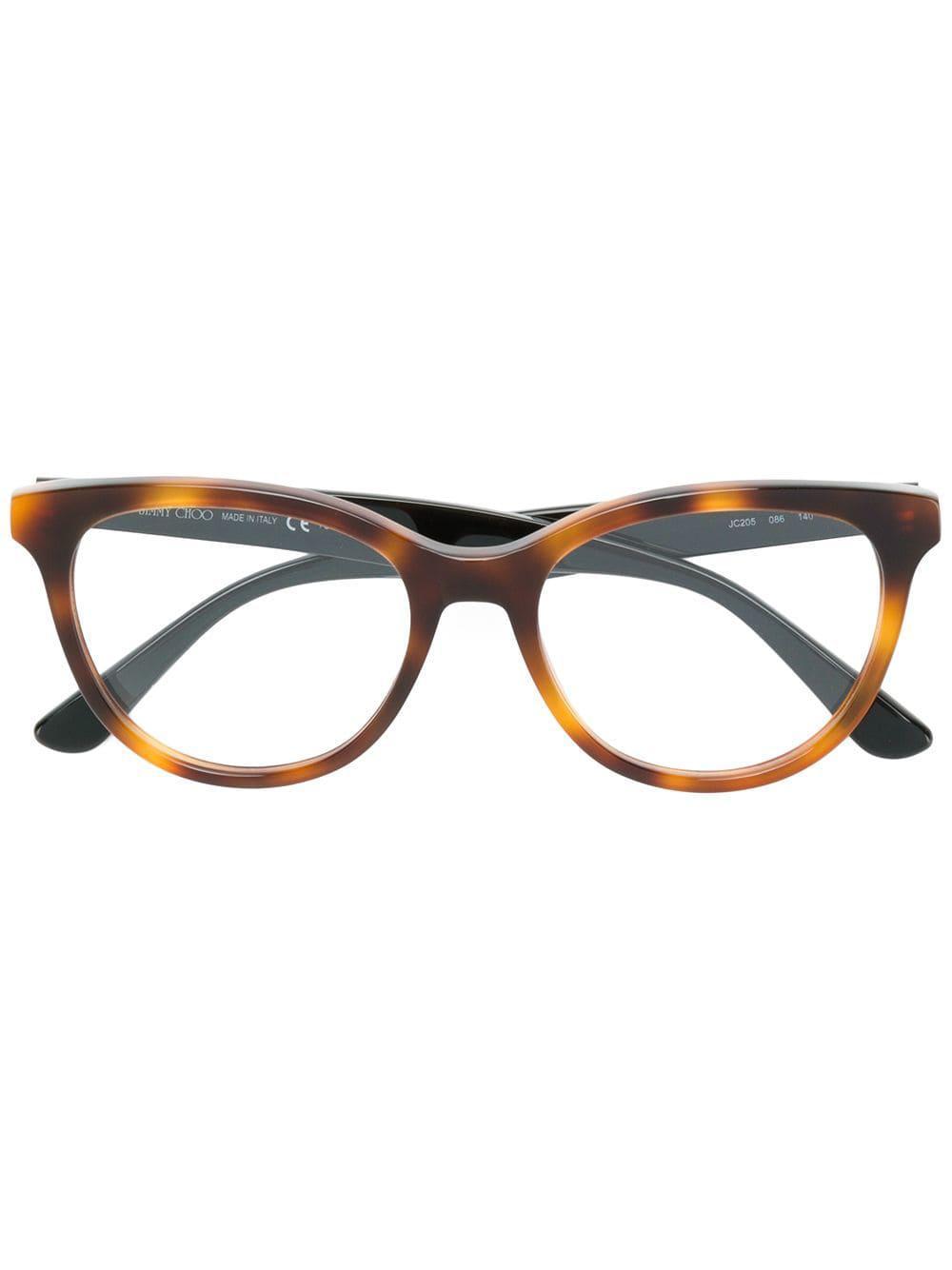 86e95f9661 Lyst - Jimmy Choo Round Frame Glasses in Brown