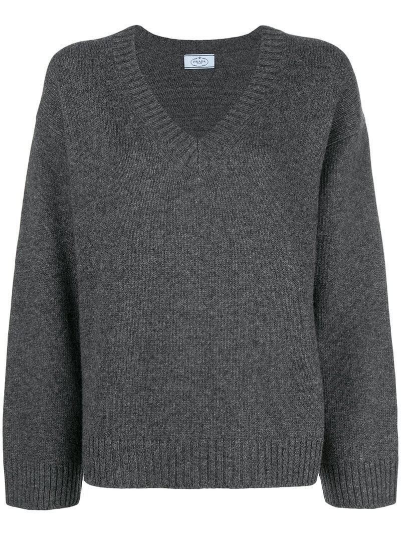 Lyst - Prada Pullover mit weiten Ärmeln in Grau af5917e95c