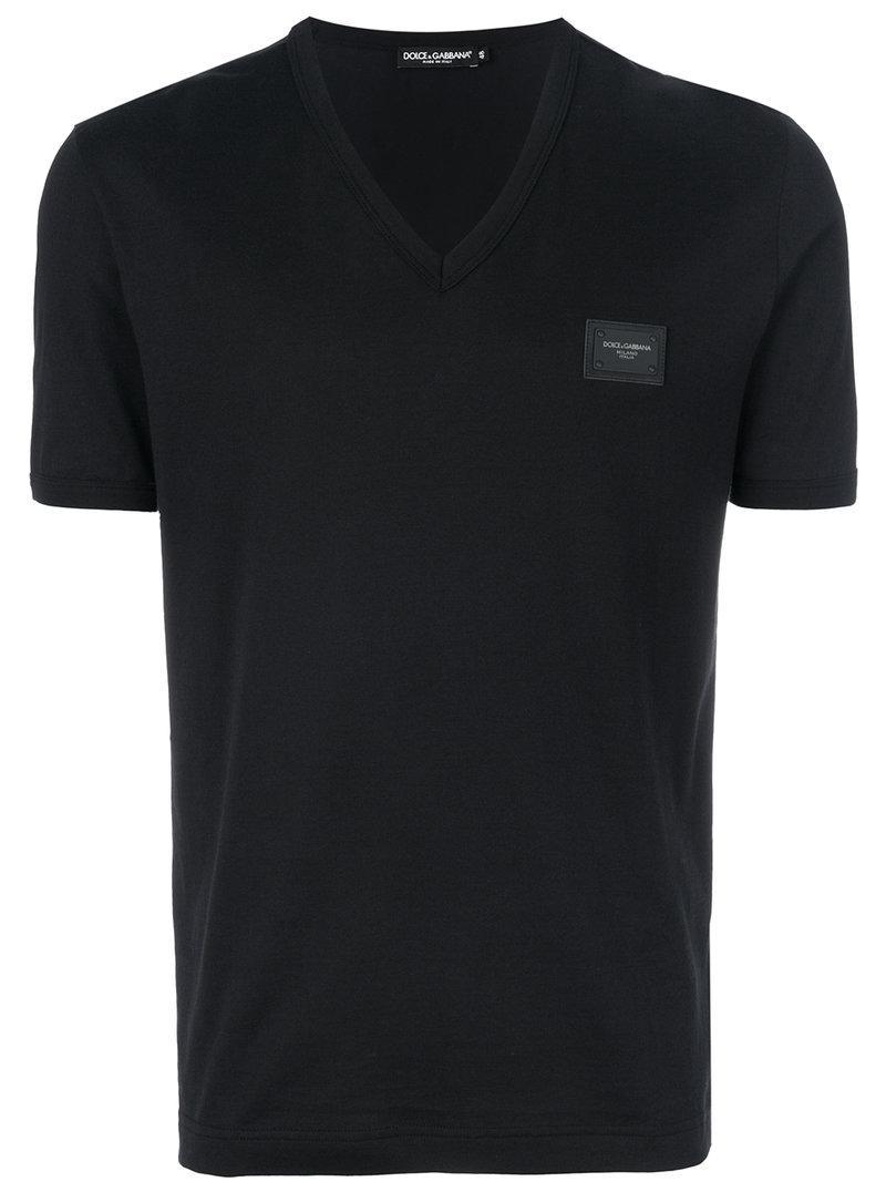 958e1287c Dolce & Gabbana V-neck T-shirt in Black for Men - Lyst