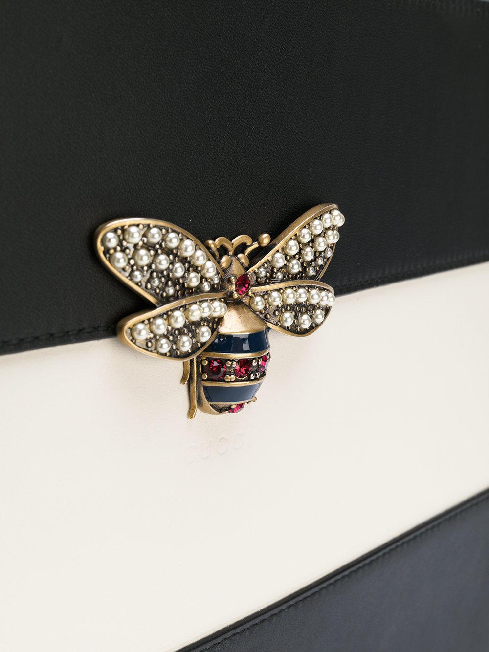 d000a83f01a1 Gucci Bee Clutch Bag in Black - Lyst