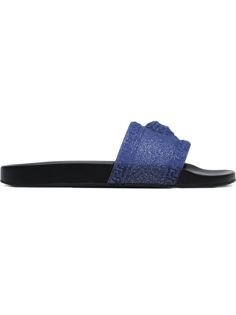55d0aa7400d8 Lyst - Versace Glittered Medusa Logo Slides in Blue for Men