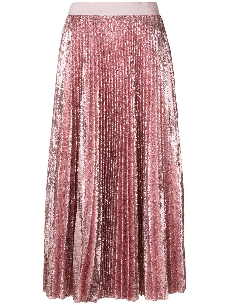 Buy Cheap Official Site Pleated sequinned midi skirt Msgm Buy Cheap Fashionable UZZOuhIa