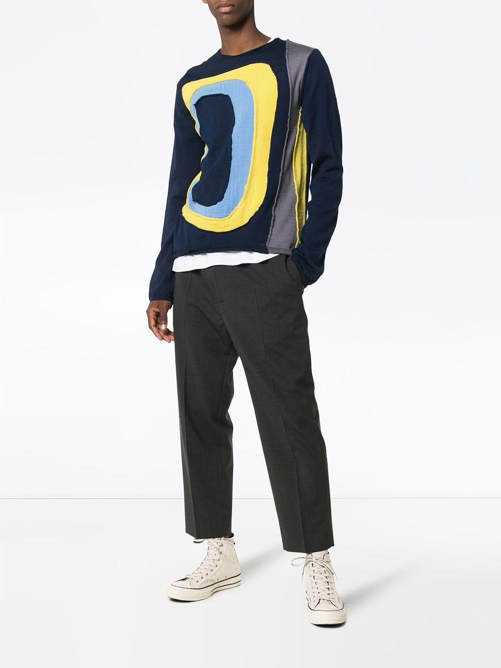 Wool Men In Knit Blue For Garçons Comme Sweatshirt Des Lyst Panel qBpFgwIg