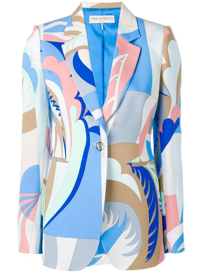 92cb2b80325e Emilio Pucci - Blue Graphic Print Blazer - Lyst. View fullscreen
