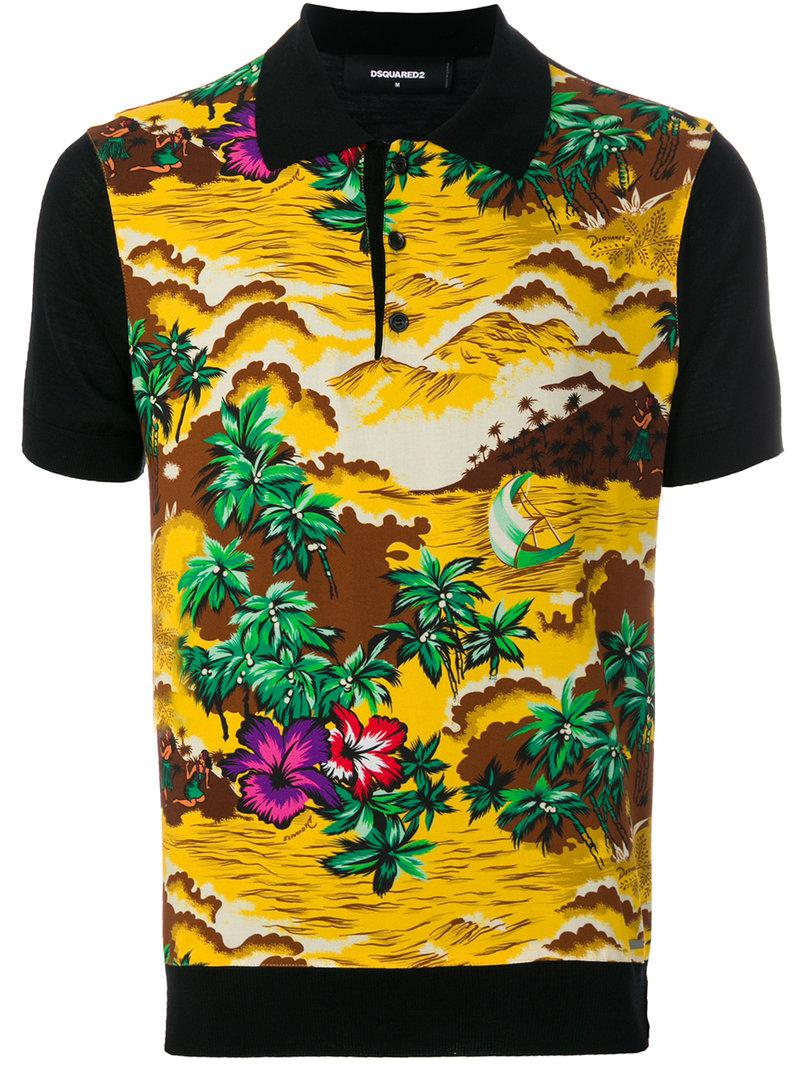 cd6187093e1ee Lyst - DSquared² Hawaii Landscape Print Polo Shirt in Black for Men