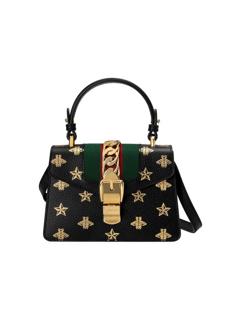 27ceec4035699b Gucci Sylvie Bee Star Mini Leather Bag in Black - Lyst