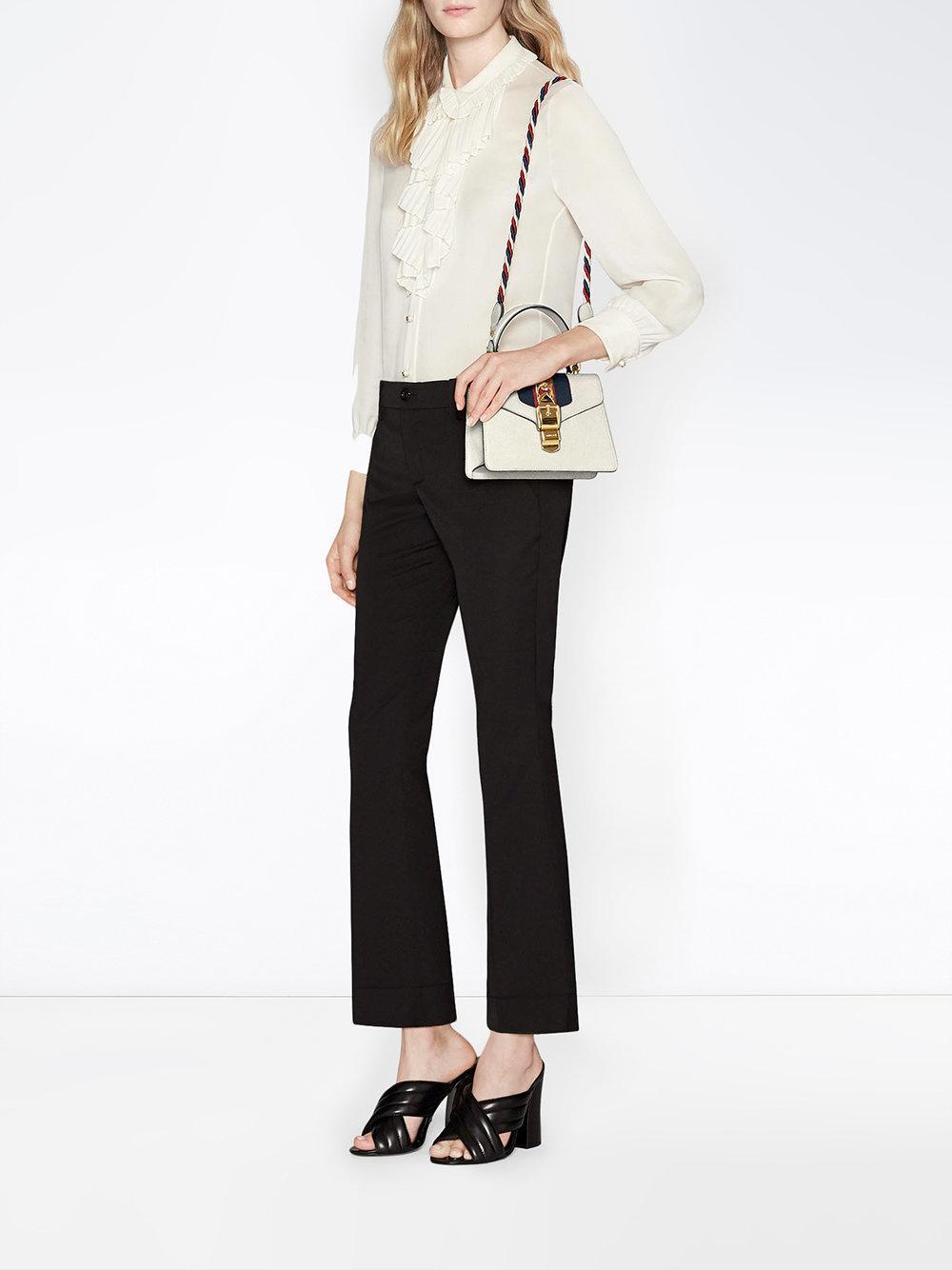 5dd43b36098 Gucci - White Mini Sylvie Leather Shoulder Bag - Lyst. View fullscreen