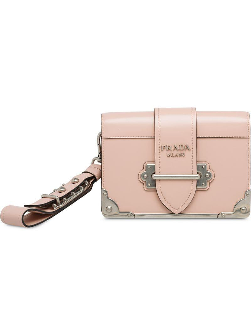 ed52c40e68 Prada Cahier Clutch Bag in Pink - Lyst