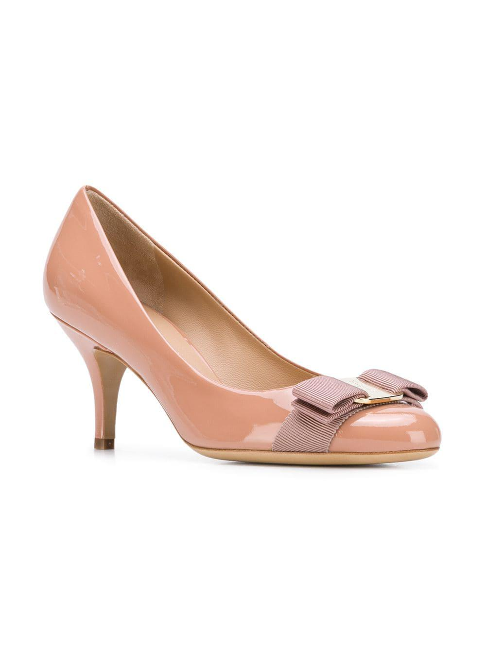 f55d221181f Lyst - Ferragamo Vara Bow Pumps in Pink