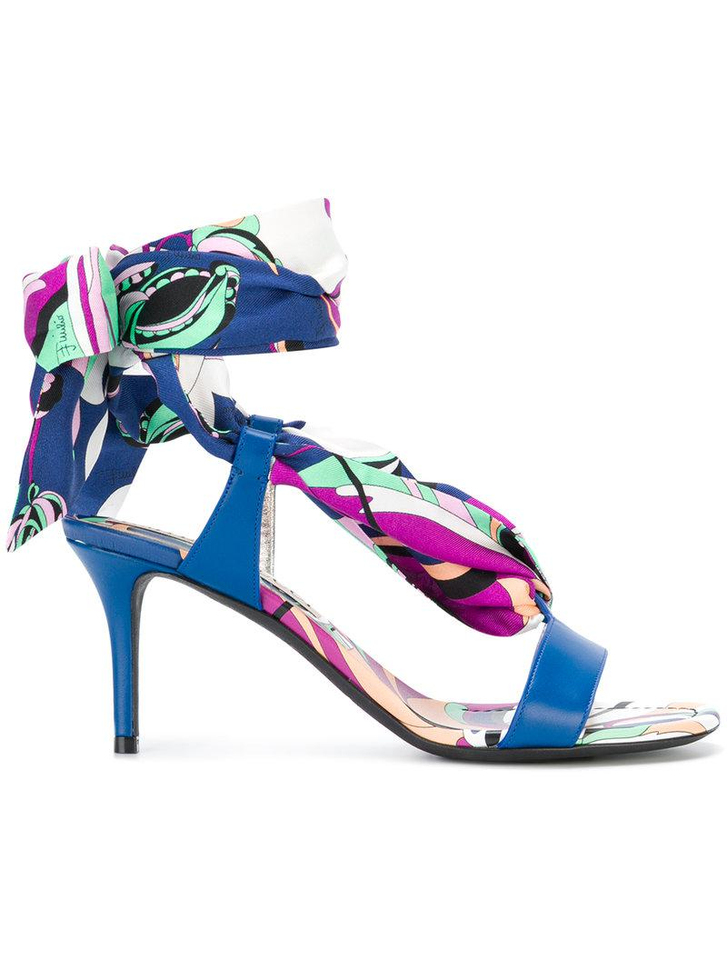 Emilio Pucci Aruba print tie up sandals