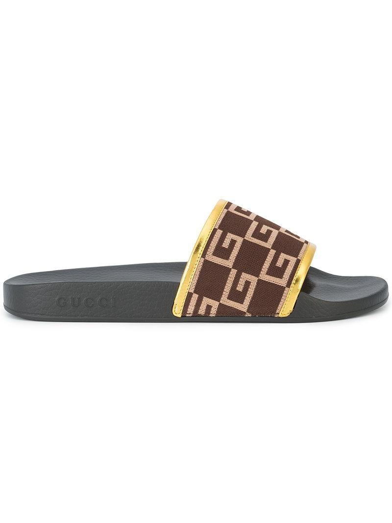fa928cefcca Lyst - Gucci G Print Shower Slides in Black for Men