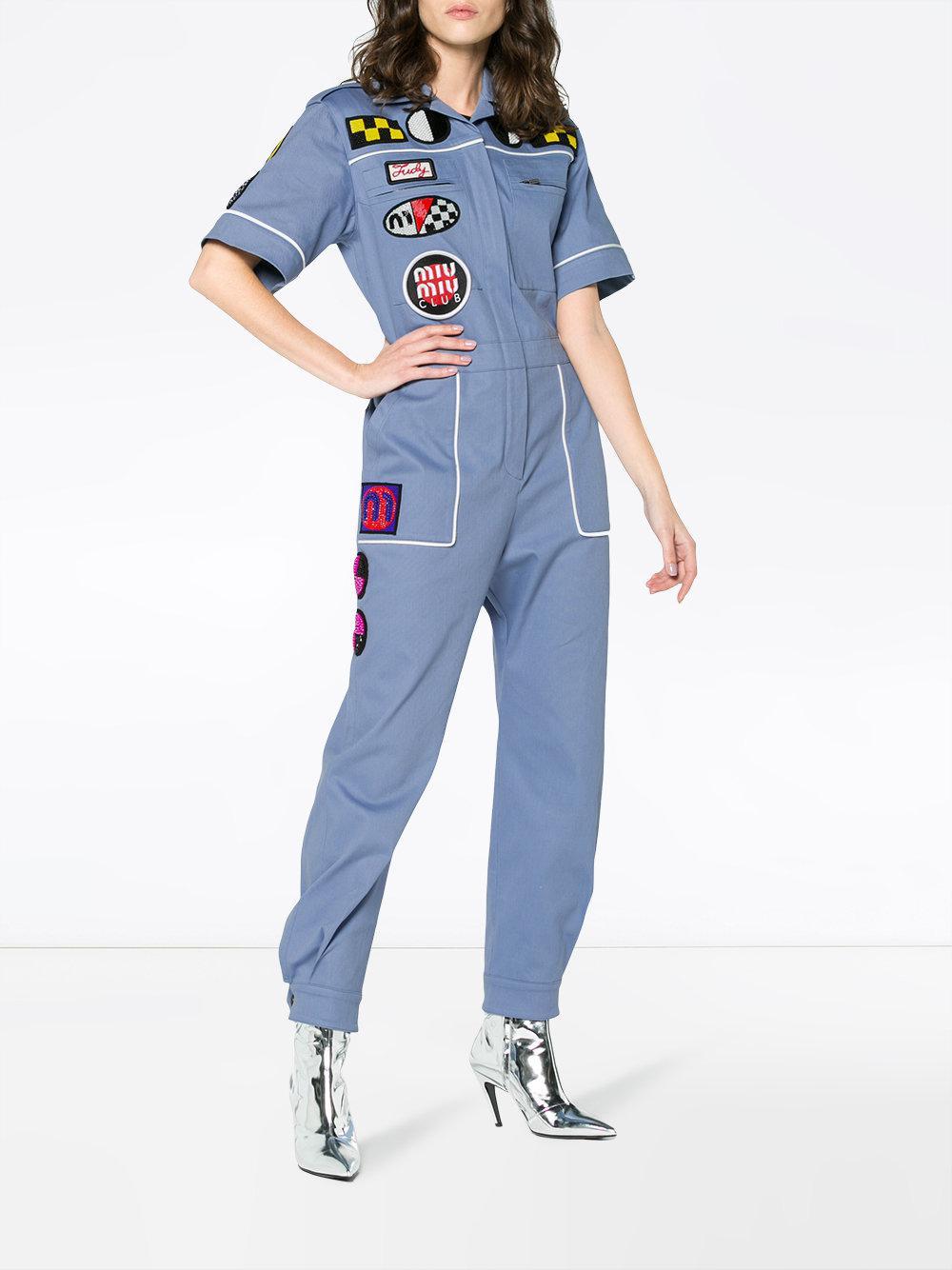 Blue Denim Mechanic Jumpsuit Miu Miu Cheap Sale Footaction SgDaSo