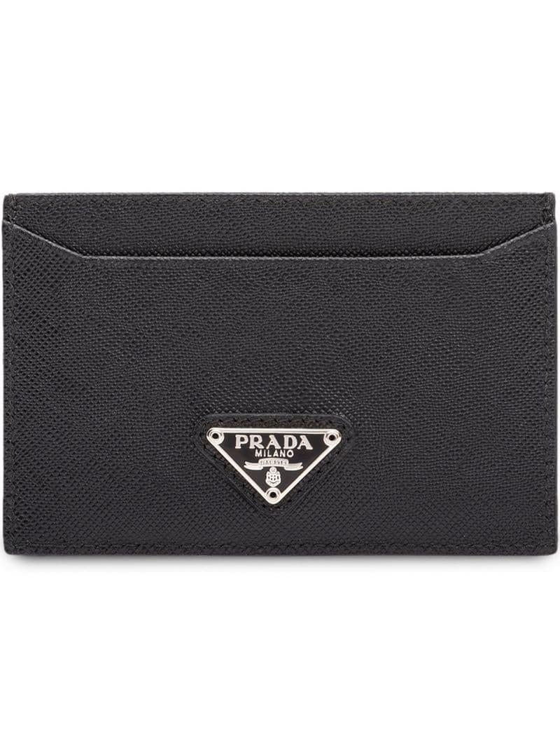 39248742b8c7 Lyst - Prada Logo Cardholder Wallet in Black