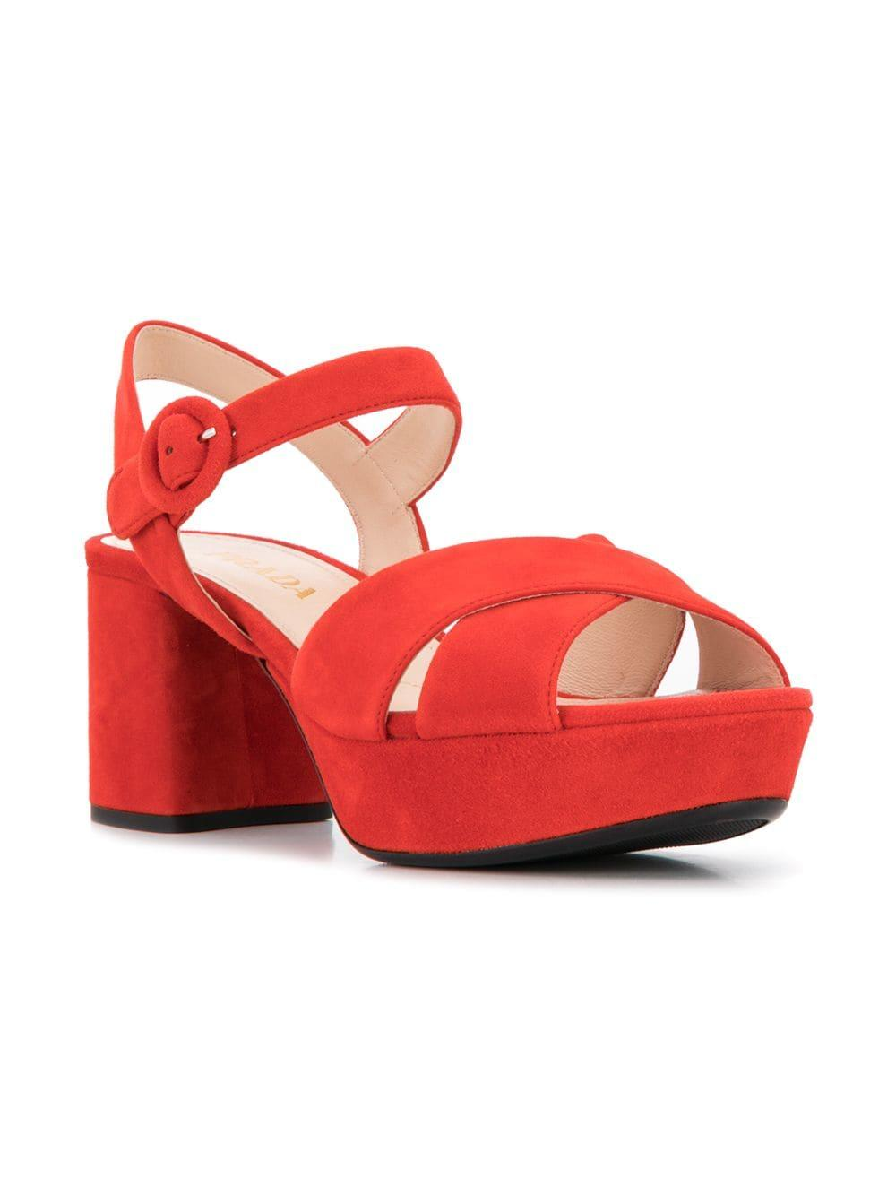 f9f3db59b8ab Lyst - Prada Mid High Platform Sandals in Red