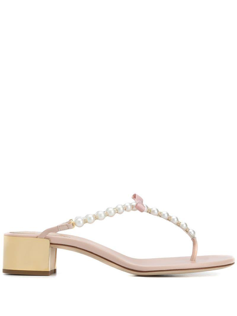 9dfec355def Rene Caovilla. Women s Embellished Pearl Bow Thong Sandals
