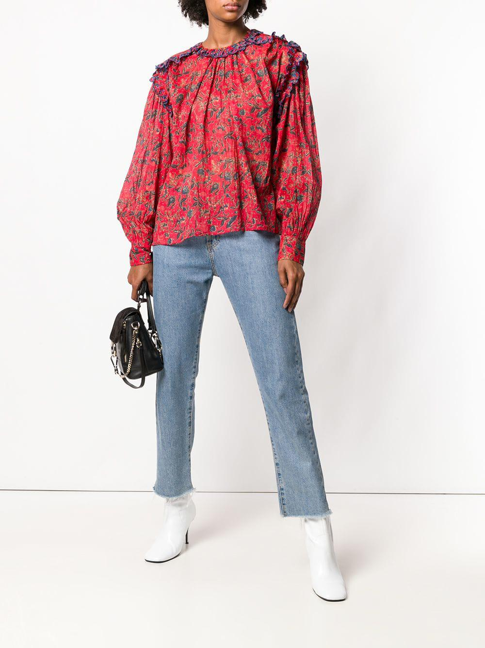 b35a1711258a2 Étoile Isabel Marant Floral Printed Blouse in Red - Save 50% - Lyst