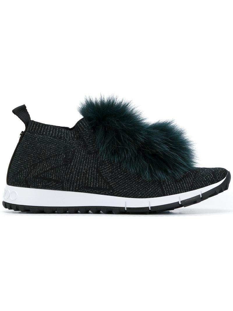 Jimmy Choo Norway fur-trimmed sneakers discount factory outlet yTLif8ALm
