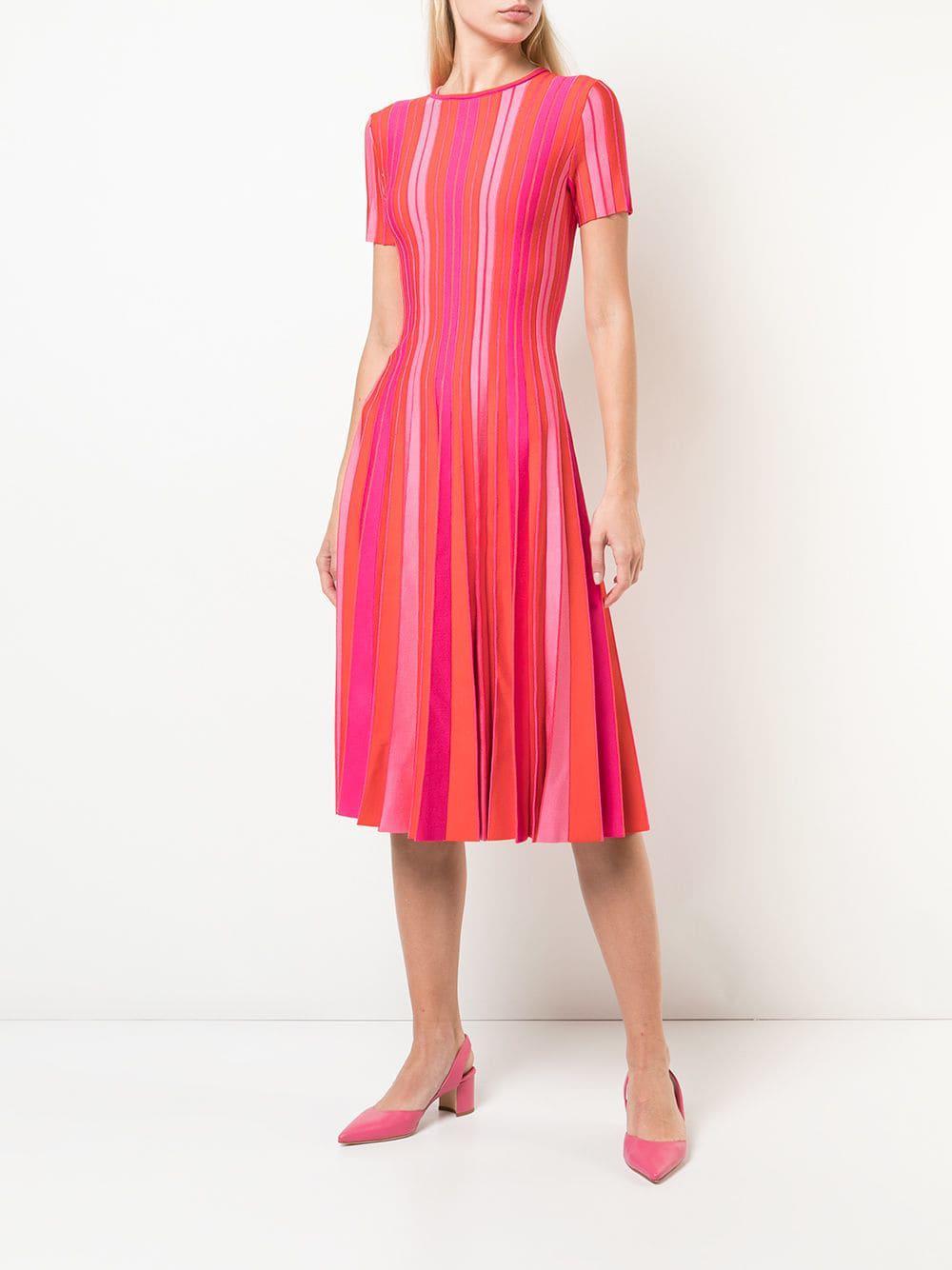 0849047d052 Lyst - Carolina Herrera Pleated Striped Dress in Pink